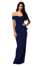 Синее платье макси с баской