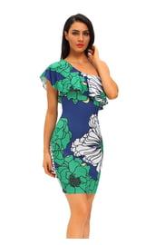 Сине-зеленое цветочное платье