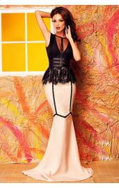 Контрастное розово-черное платье