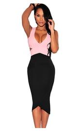 Черно-розовое платье миди