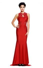 Красное платье в пол с кружевом