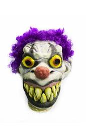 Латексная маска клоуна с фиолетовыми волосами