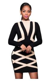 Черное платье с полосами