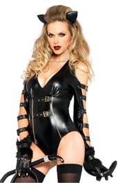 Латексный черный костюм кошечки