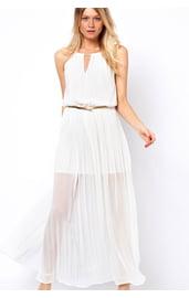 Шифоновое белое платье