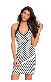Черно-белое полосатое платье