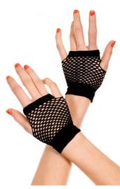 Черные перчатки в сетку без пальцев