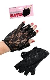 Черные кружевные перчатки без пальцев