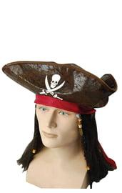 Шляпа карибского пирата с волосами