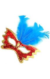 Маска бабочка с синими перьями