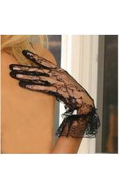 Черные короткие ажурные перчатки