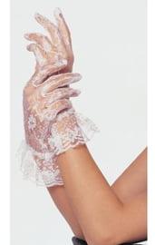 Белые короткие ажурные перчатки