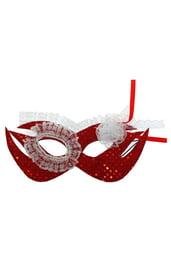 Красная маска с белым кружевом