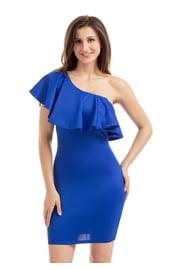 Синее ассиметричное платье