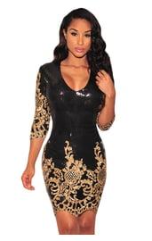 Черное блестящее платье с золотом