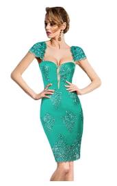Бирюзовое платье с вышивкой