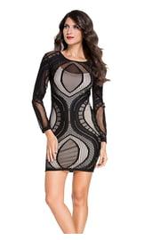 Черное платье в сеточку с длинными рукавами