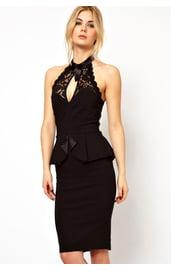 Черное платье с кружевным топом