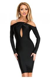 Черное платье с золотым воротником