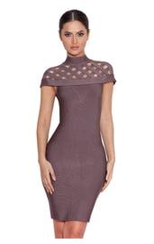 Платье с воротником в сетку