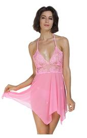 Розовая сорочка с кружевом