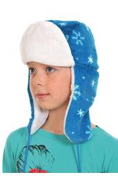 Голубая шапка-ушанка