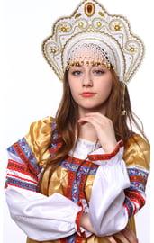 Кокошник Фантазия Белый в золоте