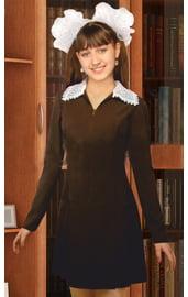 Коричневое школьное платье