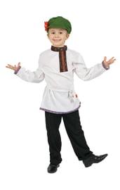 Белая детская косоворотка с красной тесьмой