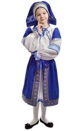 Синий народный костюм для девочки