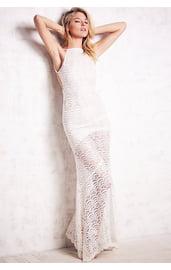 Белое ажурное платье в пол