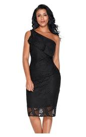 Черное платье с оборкой