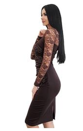 Черное платье с узорными рукавами