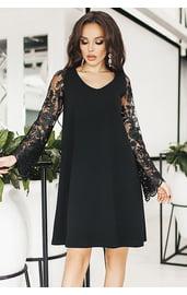 Черное платье с цветочными рукавами