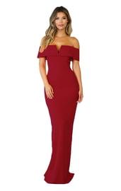 Бордовое вечернее платье в пол