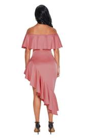 Розовое ассиметричное платье