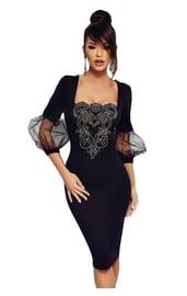 Черное платье с рукавами фонариками