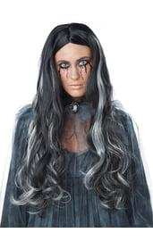 Черный парик с седыми локонами
