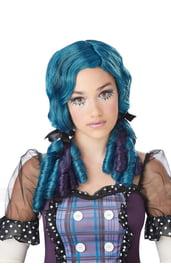 Голубой парик куклы с бантиками