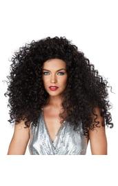 Кудрявый черный парик диско