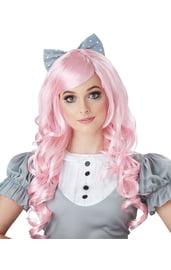 Розовый парик куклы