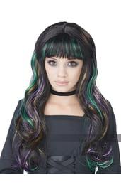 Детский разноцветный парик ведьмы