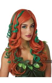 Рыжий парик с зелеными прядями