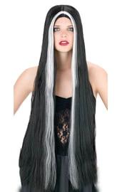 Длинный черно-белый парик 90 см