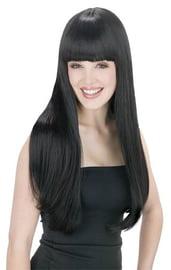 Черный длинный парик с челкой