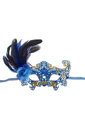 Карнавальная маска Узор с пером синяя