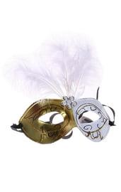 Карнавальная маска бело-золотая