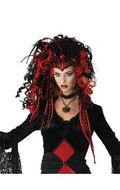 Черно-красный парик вампирши