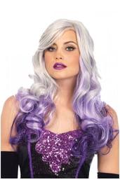 Седой парик с фиолетовыми локонами