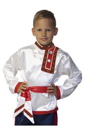 Бело-красная детская косоворотка